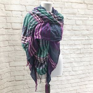 Accessories - Plaid Lightweight Teal Plum Fringed Scarf Wrap